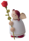 Angel Figurine (Large) - Angel with Long-Stemmed Rose