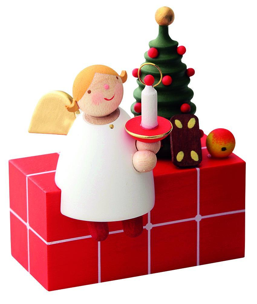 Little Angel Figurine - Christmas Angel Sitting on a Present