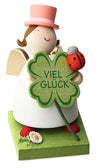 Angel Figurine - Good luck 4-leaf clover with lady beetle