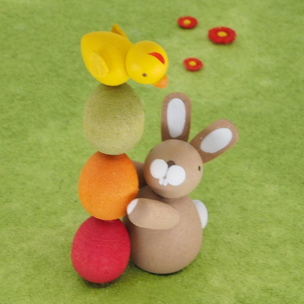 Premium Easter Bunny - Easter Bunny with stack of eggs
