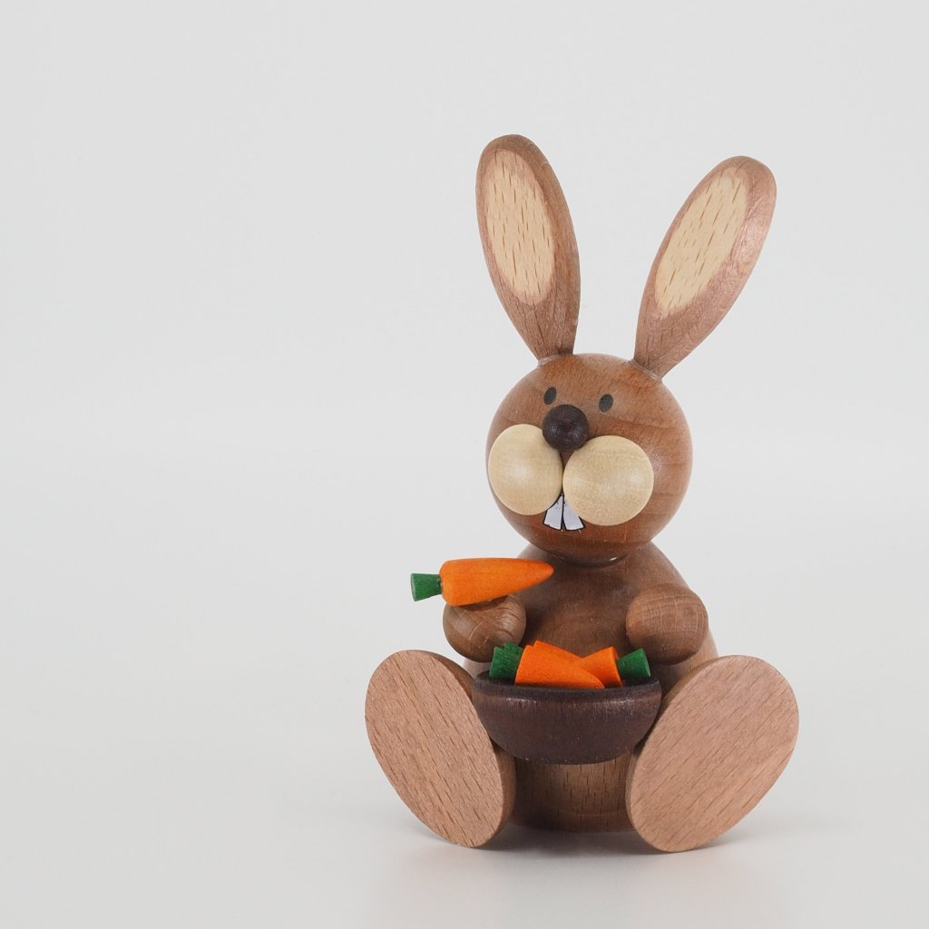 Osterhase Collectible - Bunny Boy with Bowl of Carrots