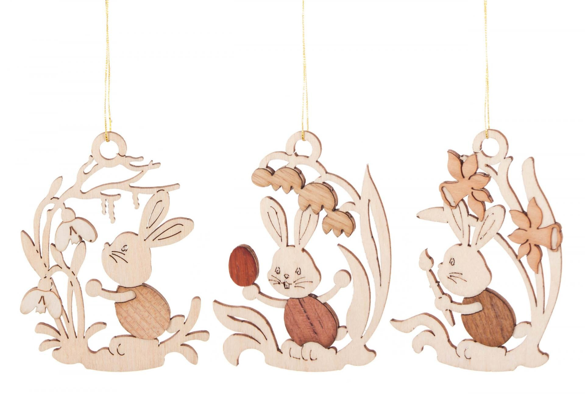 Easter tree decoration timber cut outs easter bunnies and flowers set of
