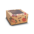 Cake Box for 1kg - Floral Kraft - 9x9x6 inch