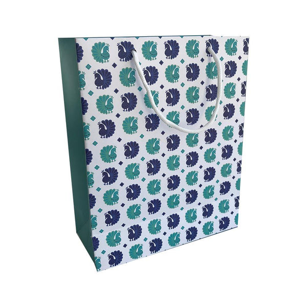 Peacock Print Gift Bag - Large 22.5x10x28