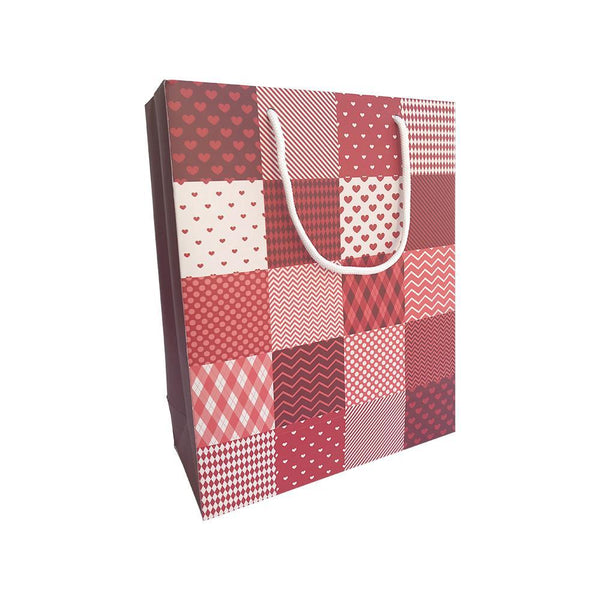 Red Checks Print Goodie Bag - Large 22.5x10x28