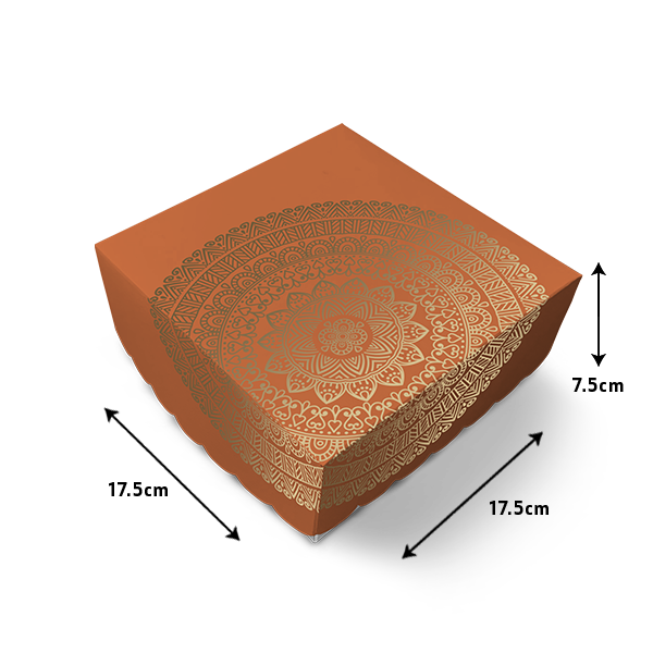 Mithai Box in Tangerine Mandala Print - 500 grams