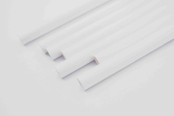 Paper Straws for 10 mm dia - White - Pack of 25