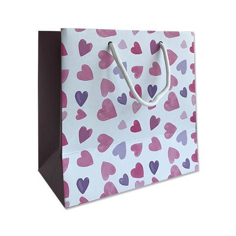 Pink Heart Print Gift Bag - Small 18x10x18