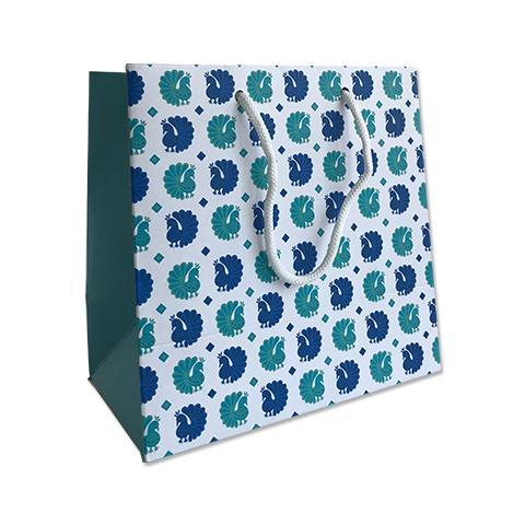 Peacock Print Gift Bag - Small 18x10x18