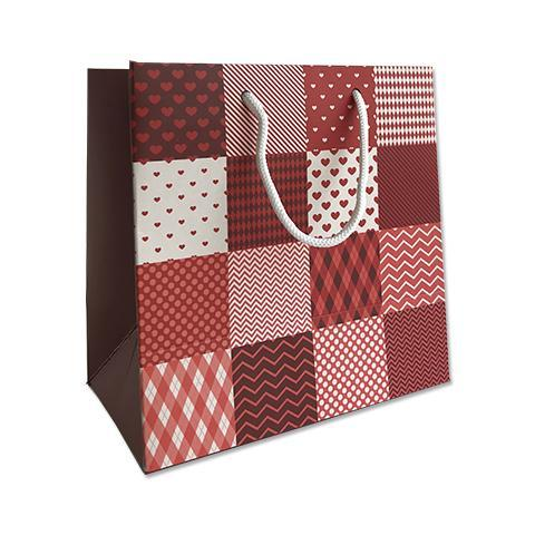 Red Checks Print Goodie Bag - Small 18x10x18
