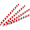 "Paper Straws for 6 mm dia - Red and White striped - 8.25"" Length"