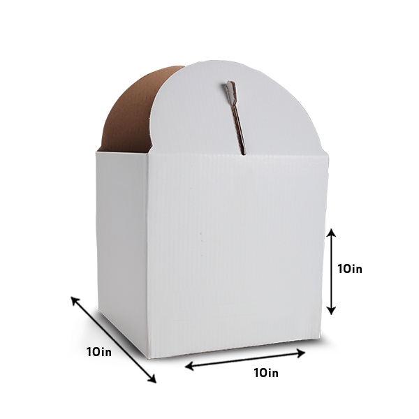"Solid White Tiered Tall Cake Box for 10"" Base"