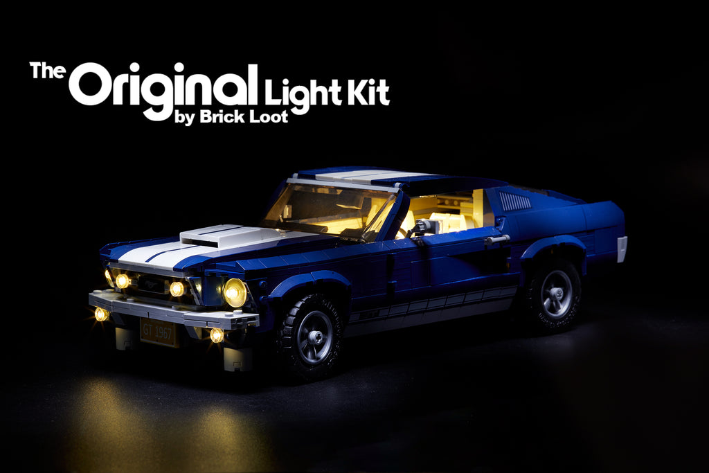 blue LEGO Ford Mustang set 10265, with the custom Brick Loot LED Light kit installed.