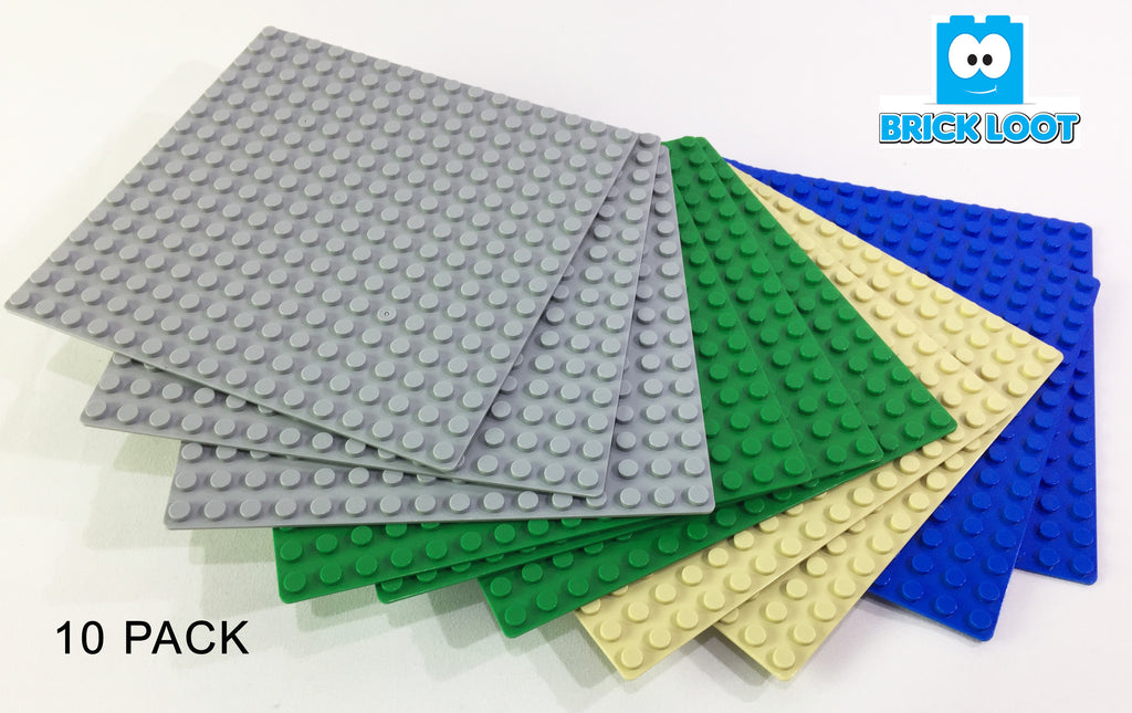 "Brick Loot Custom Baseplate Bundle 10 Pack -16x16 5""x5"" Compatible With LEGO® and  all major brick brands 4 colors"
