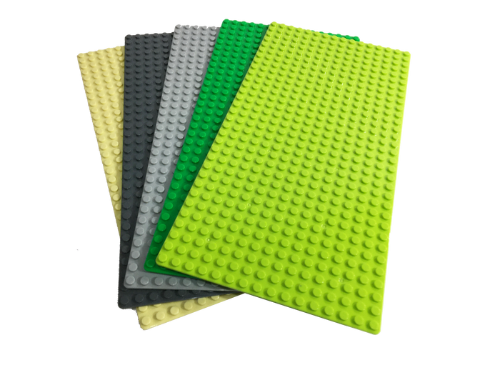 "Baseplate-Bundle -5-pack-Brick-Loot-Custom-16x32-5""x10""-Baseplates-Green- Light-Green-Light-Gray-Dark-Gray-Tan-Compatible-With-LEGO®-and-all-major-brick-brands"
