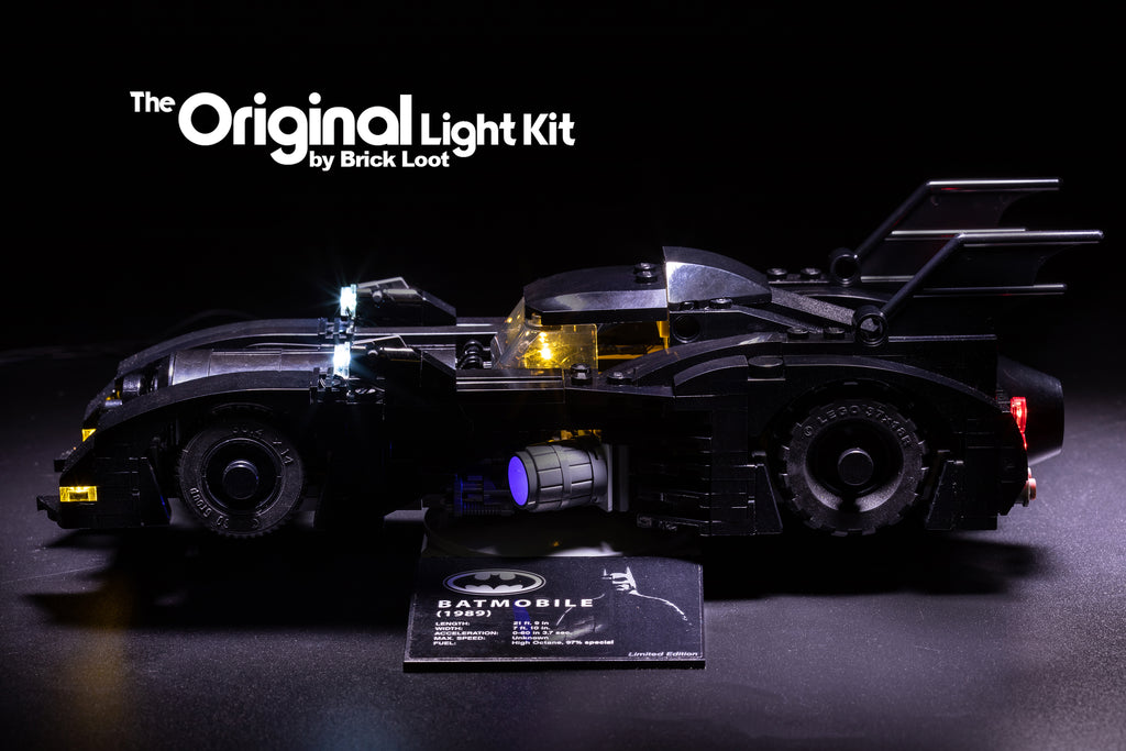 LEGO 1989 Batmobile Mini - Limited Edition - set 40433 with Brick Loot LED Light Kit installed.