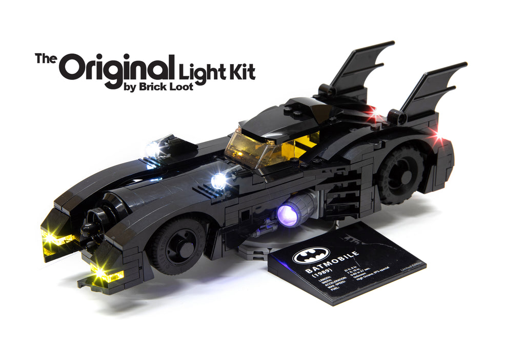LEGO 1989 Batmobile Mini - Limited Edition - set 40433 with Brick Loot LED Light Kit installed - brilliant day or night!