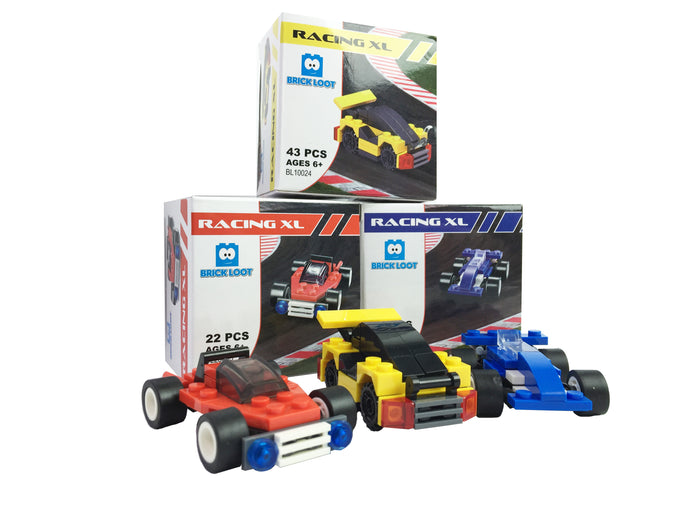 Brick-Loot-Racing-XL-Race-Cars-Red-Blue-Yellow-Sets-100%-LEGO®-Compatible-Bricks