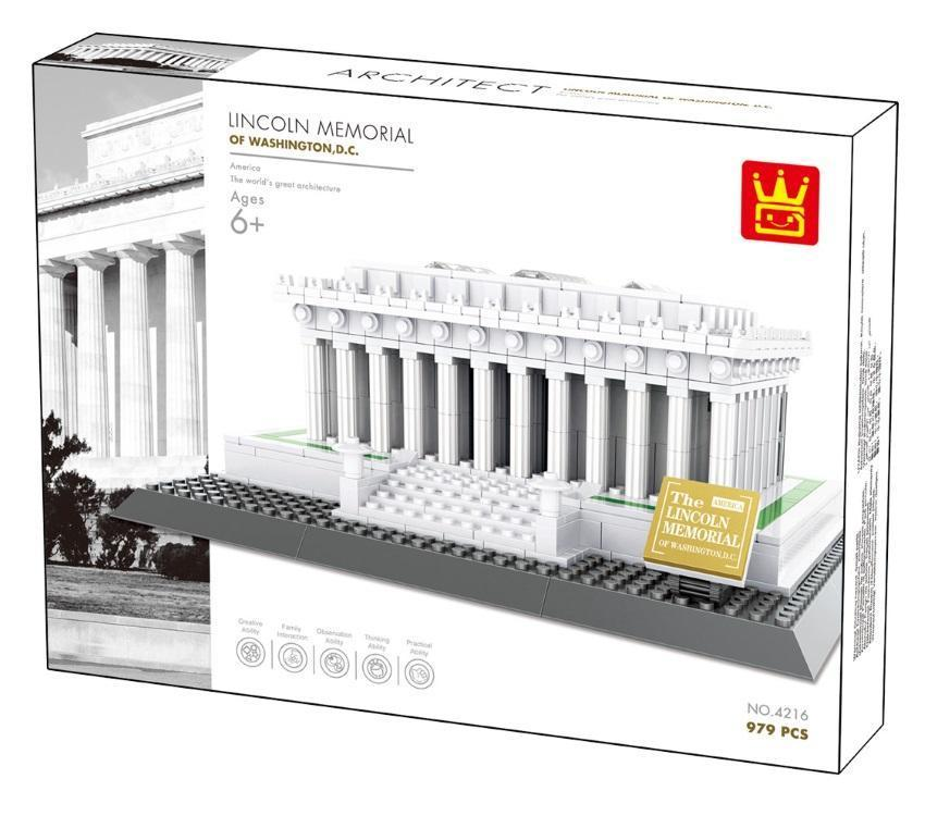 WANGE 4216 Lincoln Memorial of Washington DC brick set, sold by Brick Loot. Offered with or without the retail box.