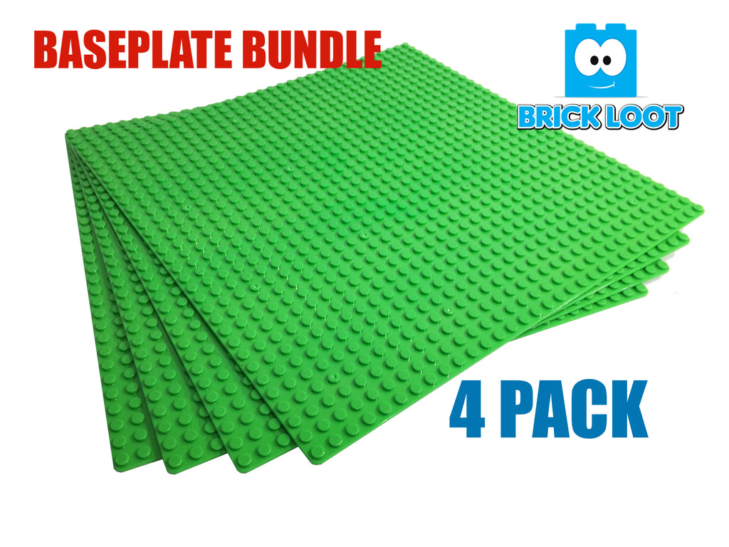 "Brick Loot Custom Baseplate Bundle 4 Pack 32x32 10""x10"" GREEN Compatible With LEGO® and all major brick brands"