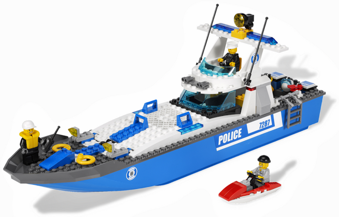 LEGO Town City Police Boat 7287 - CEO Parker's LEGO Collection - Used LEGO Complete