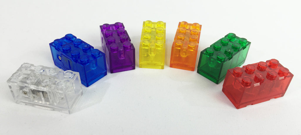 Brick Loot Colored Battery Bricks for LEGO Sets - 7 pack with all colors. Bricks are 2x4 colored bricks, compatible with LEGO and other major brands. Two (2) AG3 batteries, included.