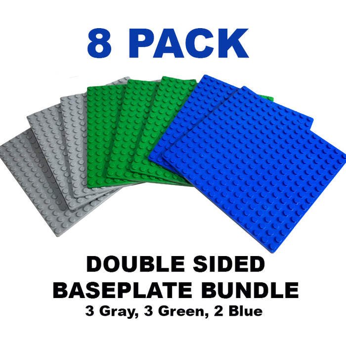 "Baseplate Bundle - 8 pack of 16x16 - 5"" x 5"" Double Sided Stackable Base Plates"