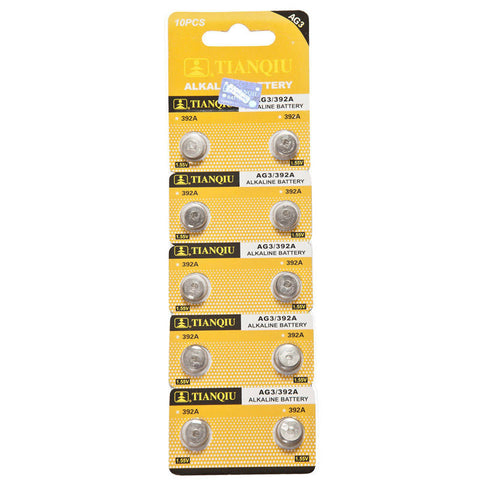 Pack of 10 High Quality AG3 LR41 Batteries in Blister Packaging