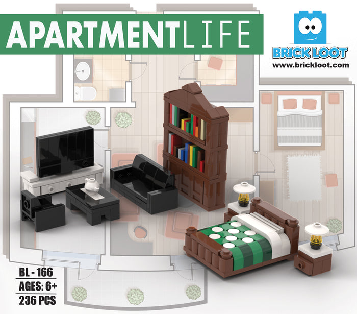 Brick Loot Apartment Life Furniture Brick Building Set with LEGO Compatible Bricks