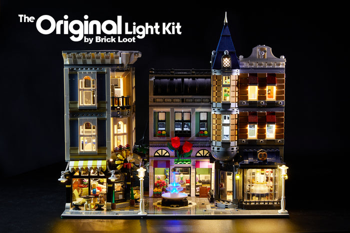 LEGO Assembly Square set 10255 with the Brick Loot LED Light Kit installed. Brilliant lights inside and out!