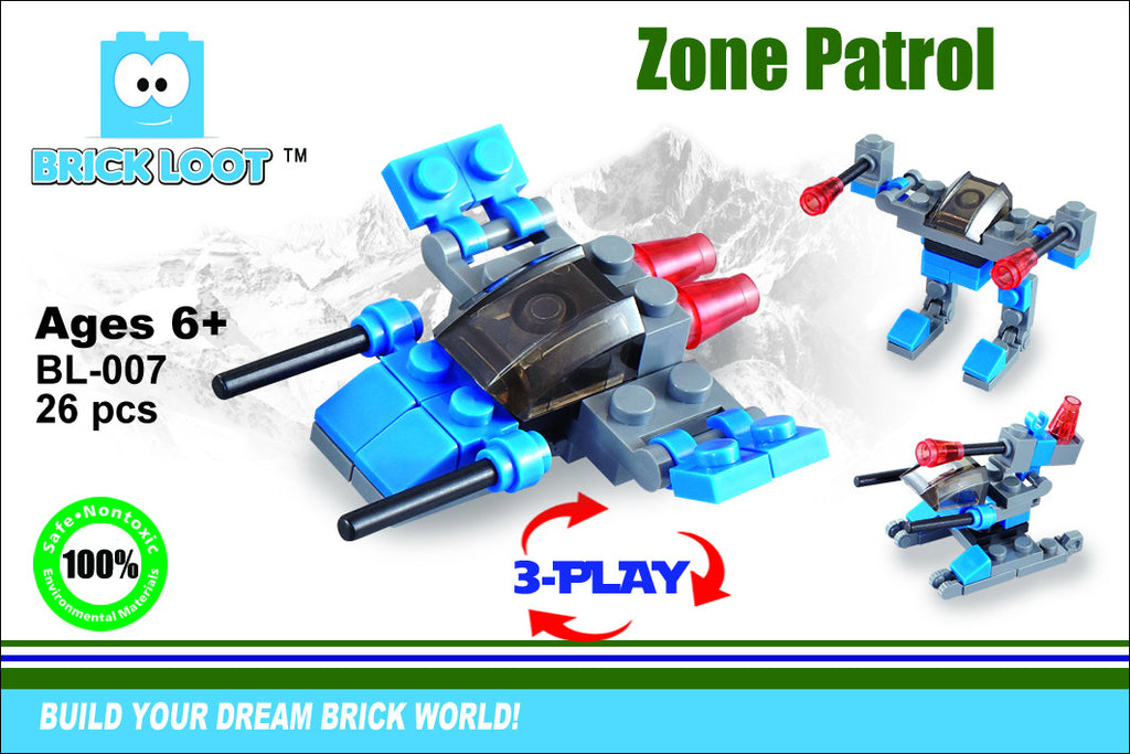 Brick-Loot-Exclusive-zone-patrol-3-in-1-set-100%-LEGO®-Compatible