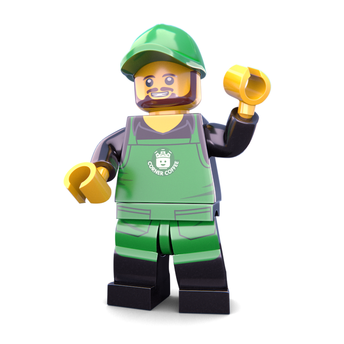 Brick Loot Exclusive Coffee Barista Custom LEGO® Minifigure LIMITED EDITION