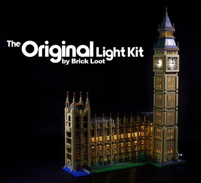 The Brick Loot LED kit beautifully lights up the LEGO Architecture set 10253 model - Big Ben.