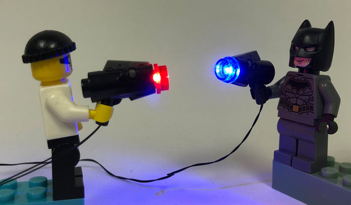 LED Blaster Gun: Red, Blue and White - LIGHT LINX  - works with LEGO bricks - by Brick Loot