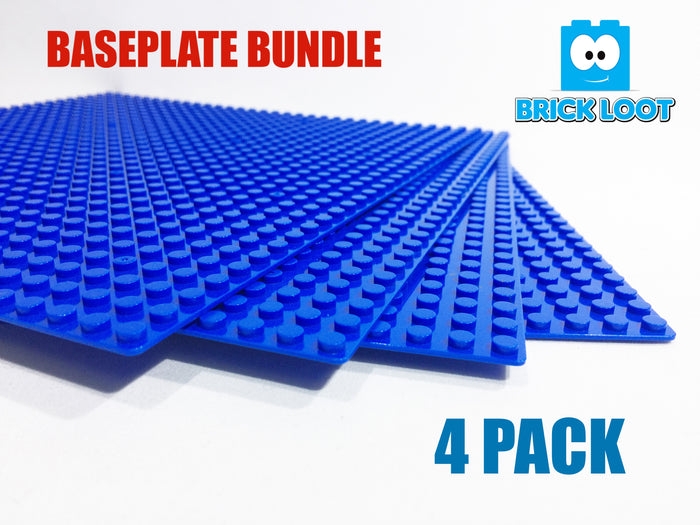 "Brick Loot Custom Baseplate Bundle 4 Pack 32x32 10""x10"" BLUE Compatible With LEGO® and all major brick brands"