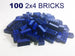 100 Pack - 2x4 Blue Bricks - Bulk LEGO Compatible