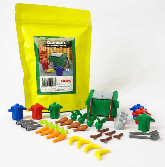 Garbage Dumpster Accessory Pack - Major Brand Brick Compatible