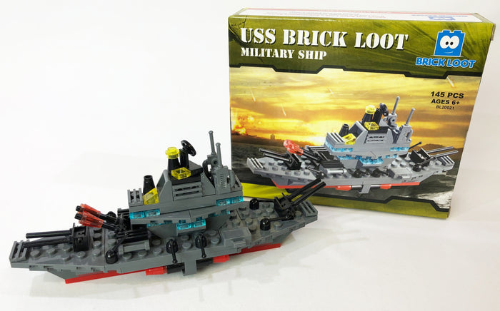 Brick Loot USS Military Ship Brick Set with 145 pieces - compatible with LEGO and major brand brick sets