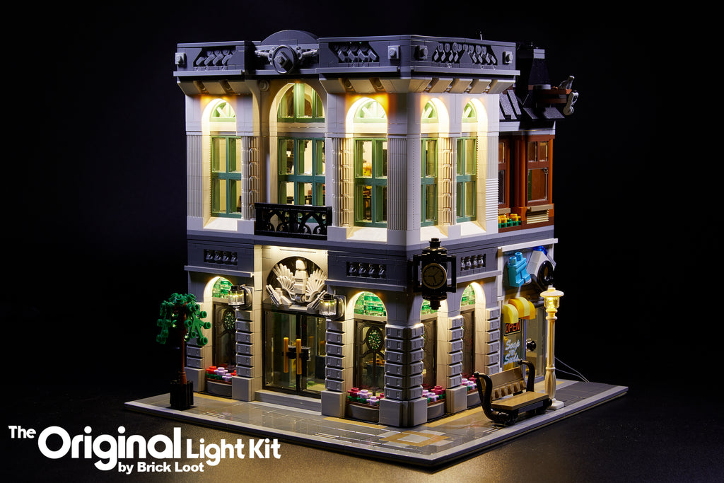 Brick Loot custom LED kit lights up the architectual details of the LEGO Brick Bank set 10251.