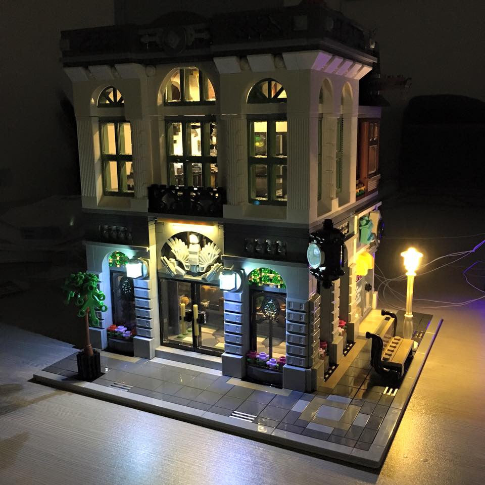 Brick Loot custom LED kit lights up the architectual details and the interior of the LEGO Brick Bank set 10251.