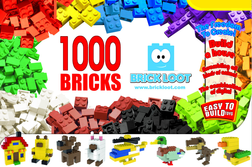 Brick Loot 1,000 Pack of Bulk LEGO Compatible Colorful Building Bricks