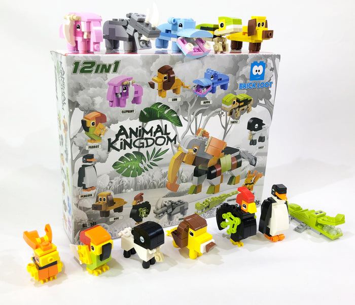 Brick-Loot-Custom-Brick-Set-Animal-Kingdom-12-in-1-Set-294-pieces