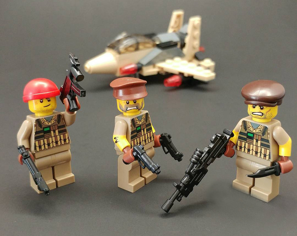 Brick Loot Exclusive LEGO Minifigures and Mega 86 Pack LEGO Compatible Minifigure Weapons and military plane in the background (allsold separately)