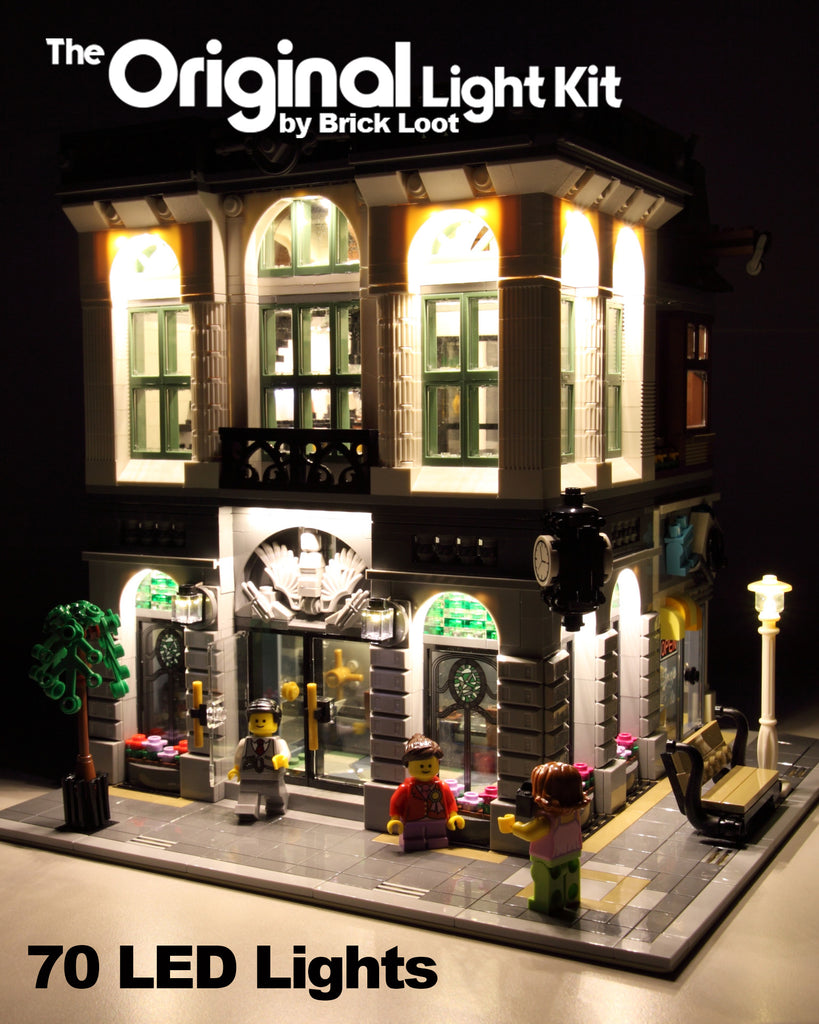 LEGO Brick Bank set 10251, with the Brick Loot custom LED light kit installed. The light kit illuminates the interior and exterior rooms of this LEGO set.