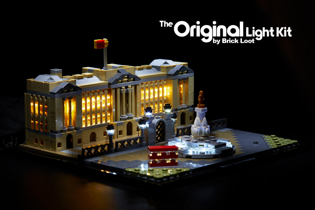 LEGO Architecture Buckingham Palace set 21029, beautifully illumuniated with the Brick Loot LED Light Kit.