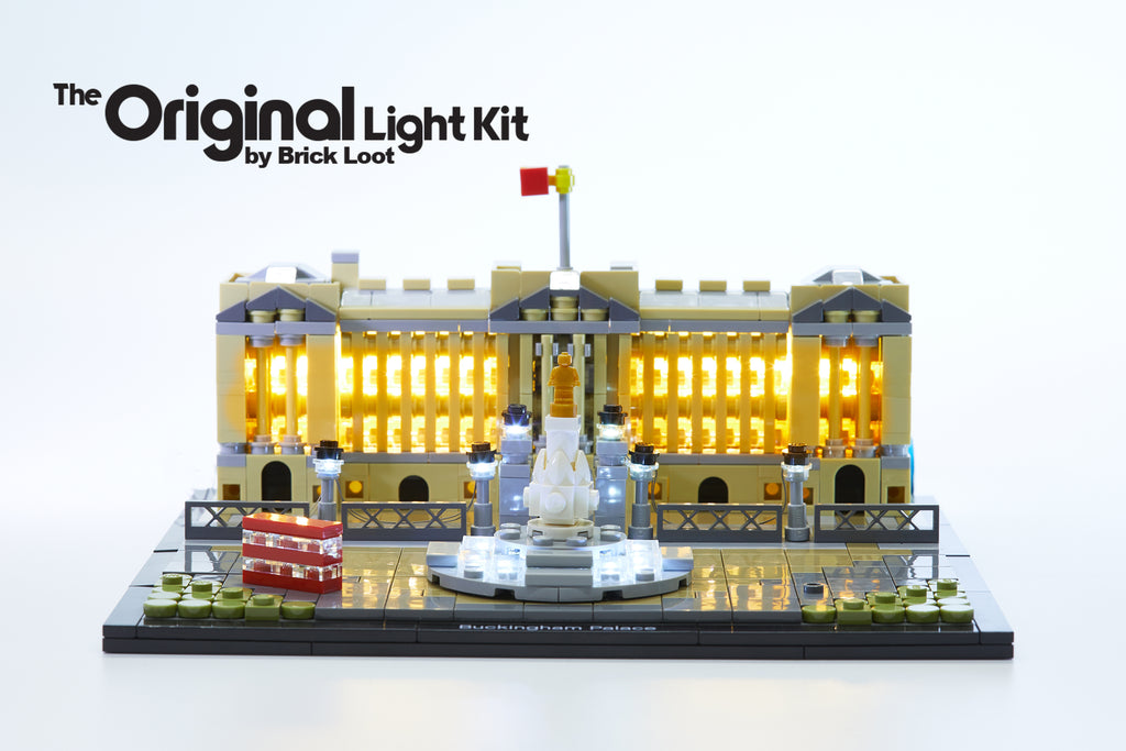 LEGO Architecture Buckingham Palace set 21029, illumuniated with the Brick Loot LED Light Kit. Beautiful day or night!