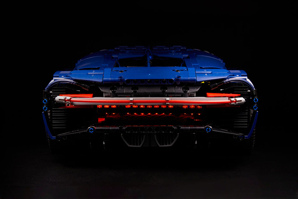 Back view of teh LEGO Bugatti Chiron set 42083 with the custom Brick Loot LED Light Kit installed.