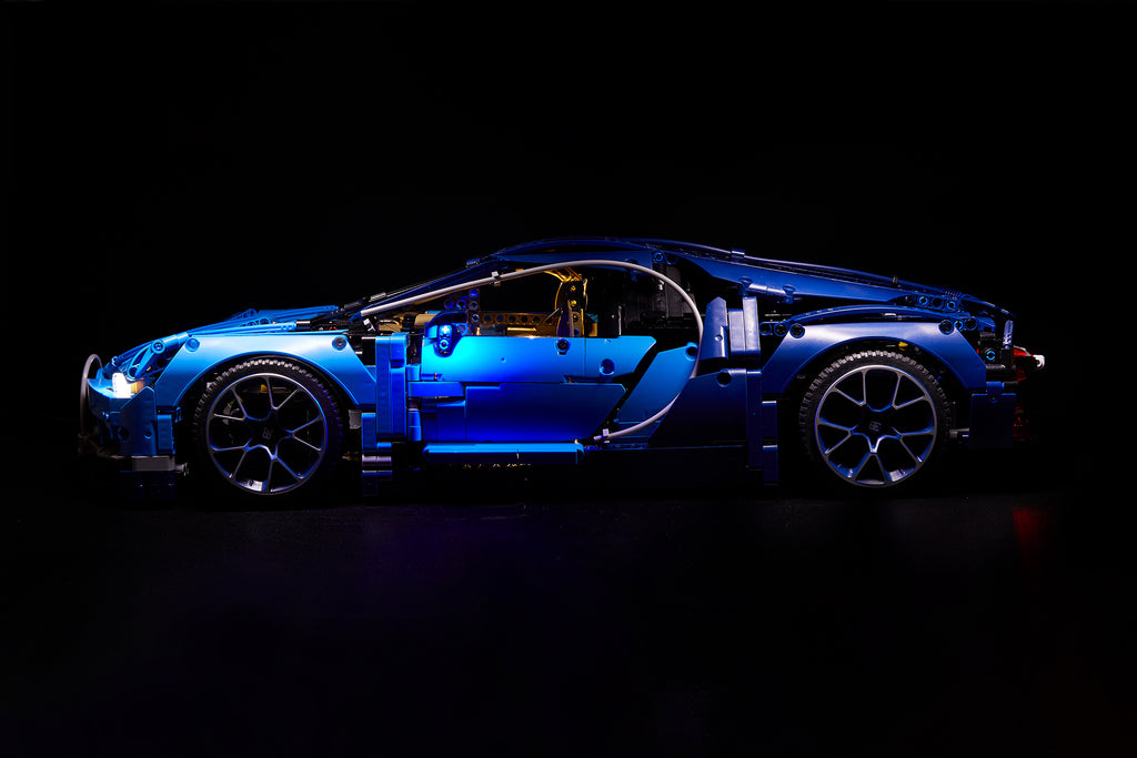 Side view of the LEGO Bugatti Chiron set 42083 with the custom Brick Loot LED Light Kit installed.
