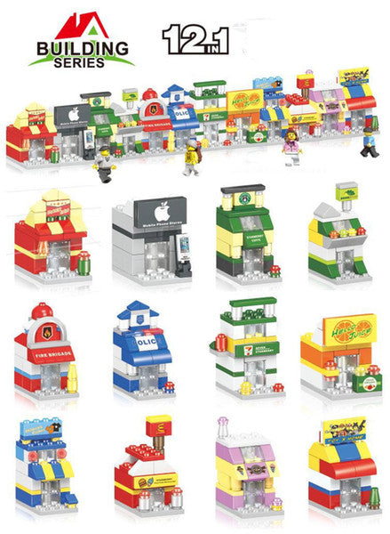 Mini Modular Stores - fits LEGO Bricks - 12 Stores