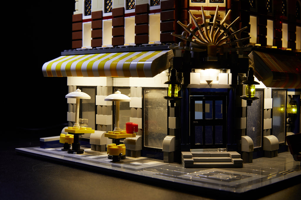 Close up of the Cafe Corner LEGO set 10182 with the Brick Loot LED Light kit  installed.